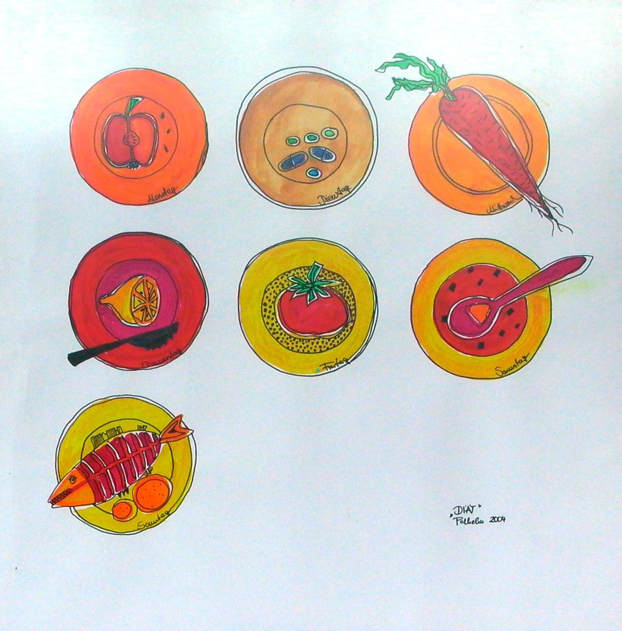DIÄT Aquarellfarben auf Papier 80x80
